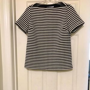 T By Alexander Wang striped Top w/leather detail